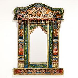 Painted Wood Elephants Mirror - Cost Plus World Market