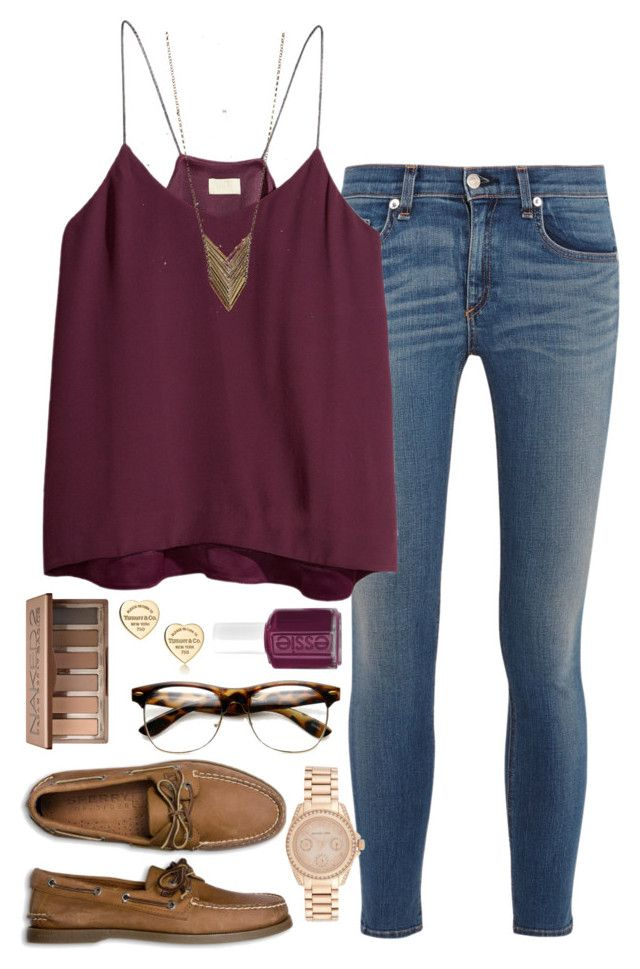 """""""#HHWFC Outfit 1"""" by bda-prep ❤ liked on Polyvore featuring rag & bone, H&M, Sperry Top-Sider, Michael Kors, Urban Decay, Tiffany & Co., Essie, Forever 21 and HHWFC"""