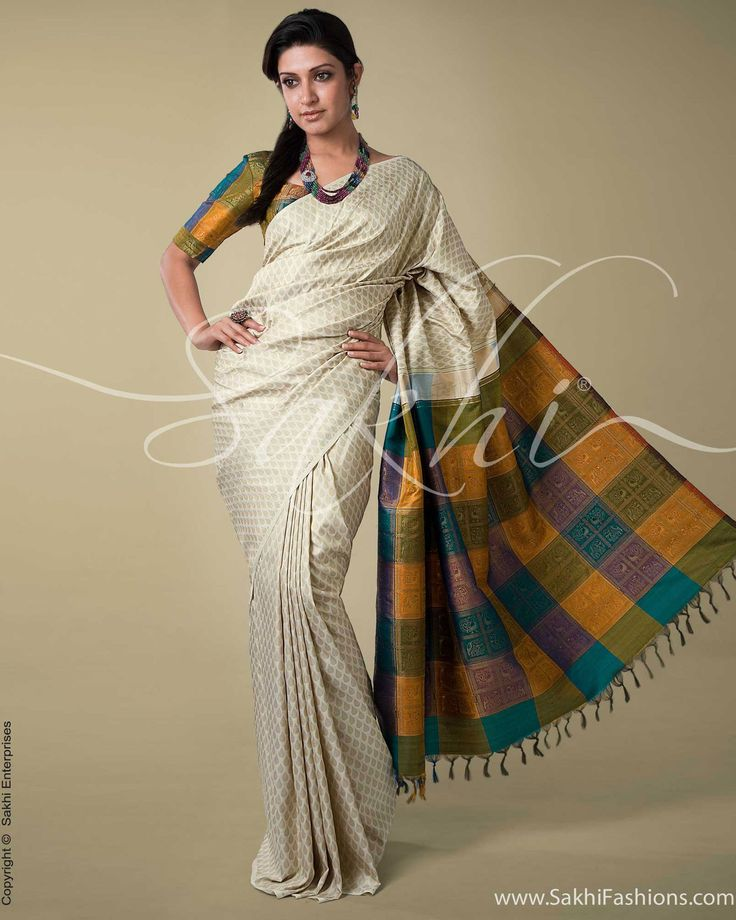 Cream & Multi Colour Kanchivaram Silk Saree