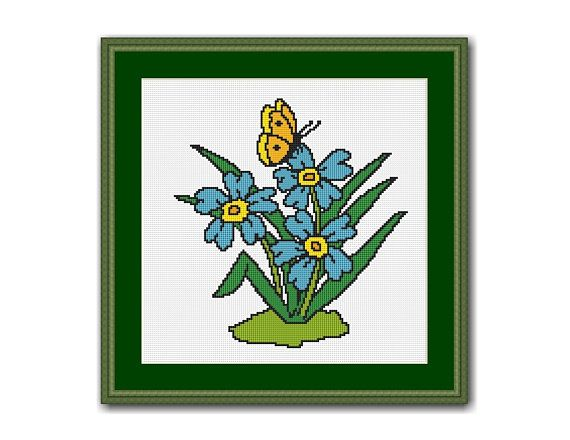 Blue Flowers & Butterfly Floral Cross Stitch Chart / Pattern, Quick and Easy, Beginners, Instant Digital Download, (QS029)