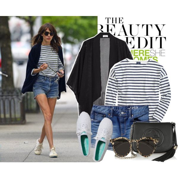 Celebrity Street Style: Alexa Chung sporting a long sleeve navy striped t-shirt, cardigan, denim shorts, and Superga sneakers. Pair it with a little leather bag and sunglasses So easy, so stylish   Maglietta a righe in stile marinaio a maniche lunghe, un semplice golfino, pantaloncini di jeans e tennis di tela. Aggiungi una piccola borsa di pelle e degli occhiali da sole e sei pronta per ogni occasione! #navy #jeans #everyday #style #outfit #look #sunnies #shades