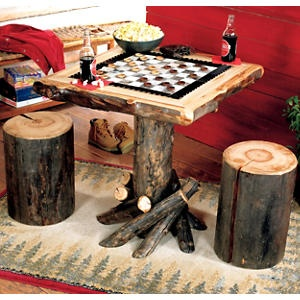 Log Checkerboard Table with Stools