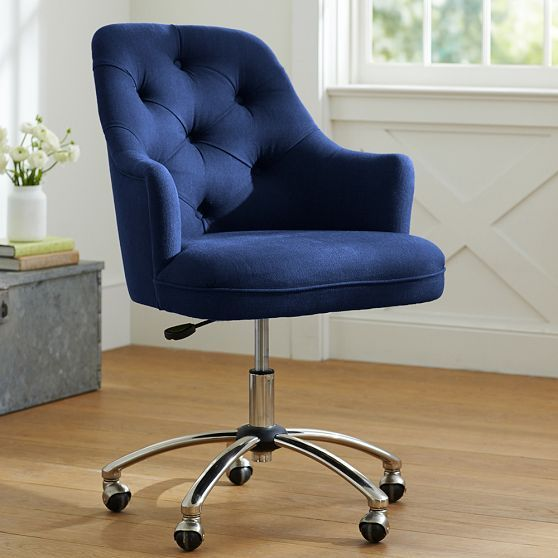 Twill tufted desk chair dark dark blue and colors for Blue office chair