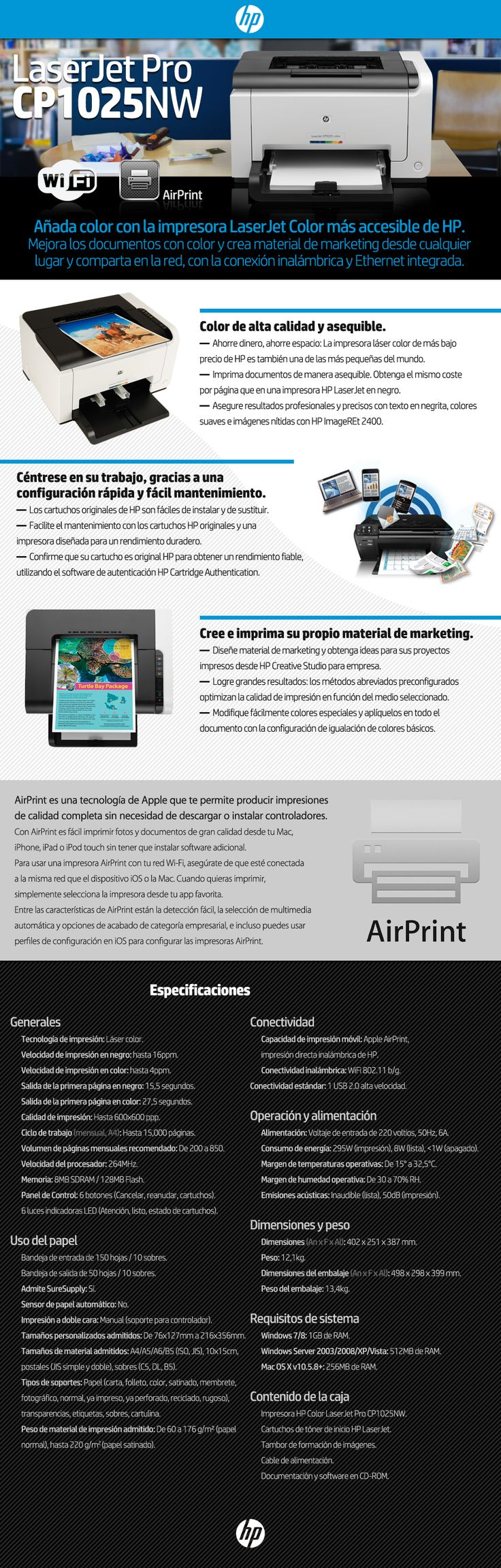 Impresora Laser Color Hp Cp1025nw 1025nw Red Wifi Usb Ce918a - $ 4.299,00 en Mercado Libre