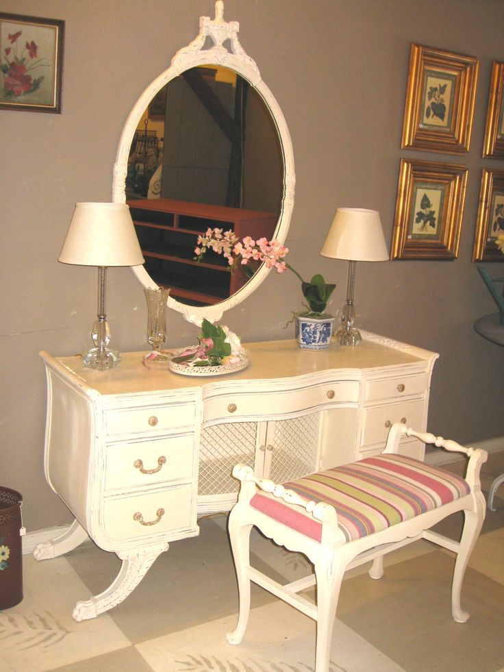 108 best annie sloan fabrics images on pinterest mahogany vanity with mirror and bench upholstered in annie sloan fabric gigi ticking painted with chalk paint in old white gumiabroncs Image collections