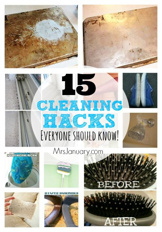 15 Cleaning Hacks Everyone Should Know - Here are a bunch of cleaning hacks that will help you to clean your home, and items in it, in less time, and with less effort, than traditional cleaning methods!