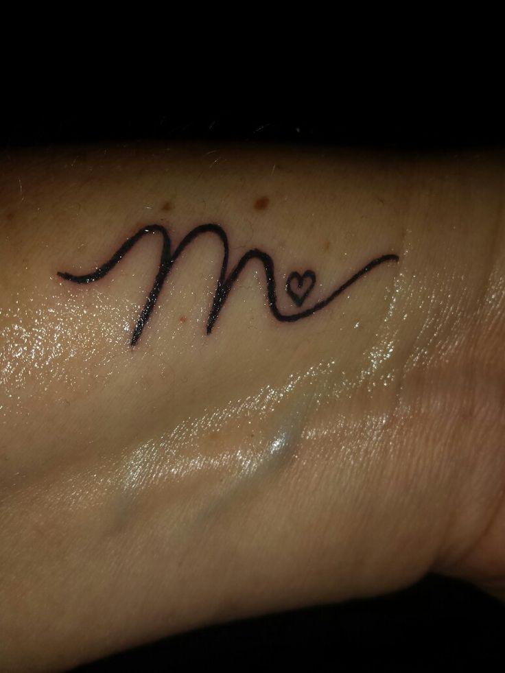 """Small Letter Tattoo: """" M """" Initial Tattoo"""