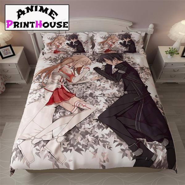 Sword Art Online Bedding Sets & Blanket #sword #art #online #bed #set #bedding #asuna #kirito #bedroom #anime www.animeprinthouse.com