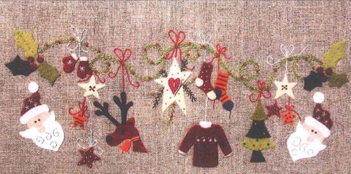 Guirlande De Noel (Garland Noel) Embroidery Pattern ADI-103 (advanced beginner, wall hanging)