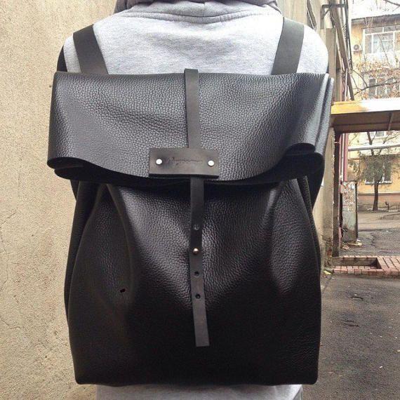 Leather backpack black backpack woman backpack men backpack
