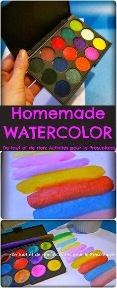 De tout et de rien: Activités pour le Préscolaire: Homemade watercolor - Recette pour faire de la peinture à l'eau (aquarelle)