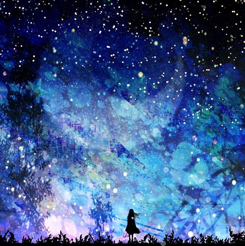 Blue night with stars