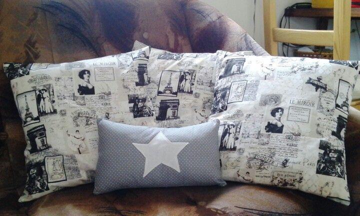 Sewing pillows. Black white, grey white star