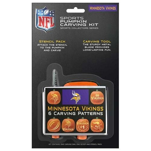 NFL Minnesota Vikings Pumpkin Carving Kit  https://allstarsportsfan.com/product/nfl-minnesota-vikings-pumpkin-carving-kit/  Add some NFL cheer to your Halloween festivities with the officially licensed Minnesota Vikings Pumpkin Carving Kit by Topperscot! Features six press and carve patterns inspired by your favorite team, one carving tool, and one scoop. Recommended for ages 5 and...