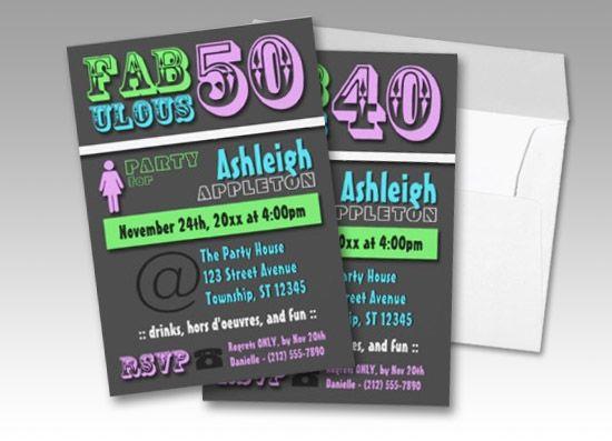 FABULOUS 40 - and - FABULOUS 50 birthday invitations