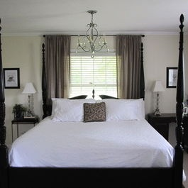 Bed In Front Of Window Design Ideas, Blinds, curtains, rods all the way to trim and coordinating fabric for bedding/pillows/curtain
