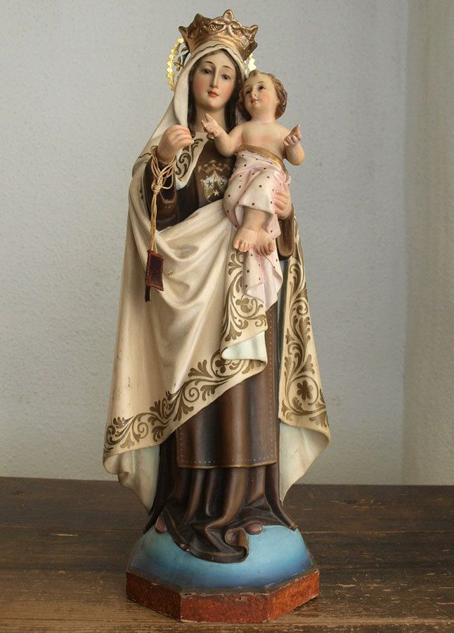 Etsy のOur Lady Of Mt. Carmel Madonna and Child Glass Eyes Statues Spain Religious Antiques/629(ショップ名:GliciniaANTIC)