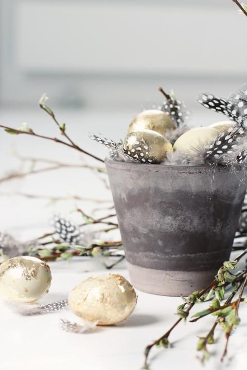 Rustic Grey And Gold Easter Decorations
