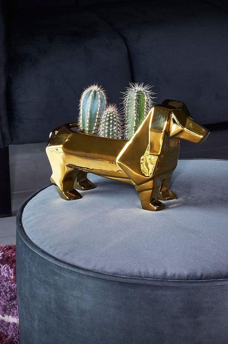 Spännande guldkruka formad som en tax. Material: Metall. Storlek: Höjd 16 cm, bredd 25,5 cm, djup 8,3 cm. Beskrivning: Kruka i guldplätterad metall. Tips/råd: Använd gärna dekorationer i guld mot en inredning med neutral färg, för att få detaljerna att sticka ut.