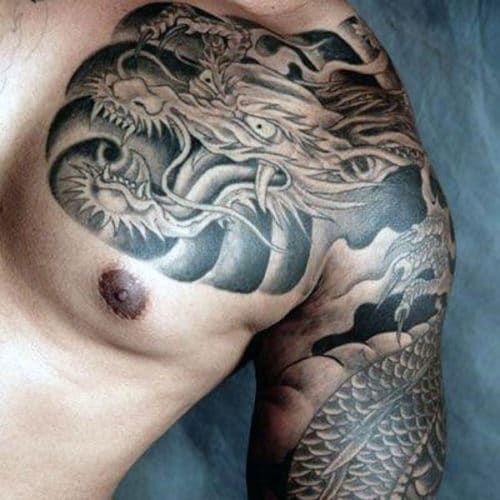 61 Best Dragon Tattoos For Men Cool Designs Ideas 2019 Guide In 2020 Dragon Tattoos For Men Dragon Tattoo Chest Tattoo Men