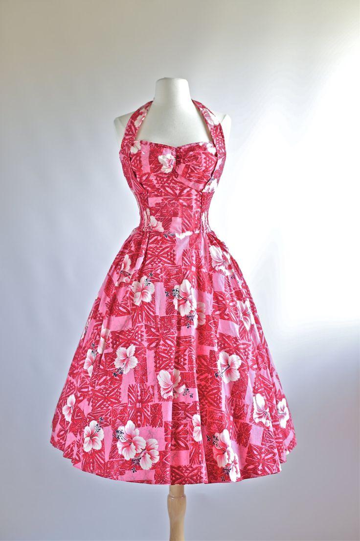 Vintage 1950s Kamehameha Hawaiian Dress ~ 50s Hawaiian Dress By Kamehameha Size XL Waist 34 by xtabayvintage on Etsy