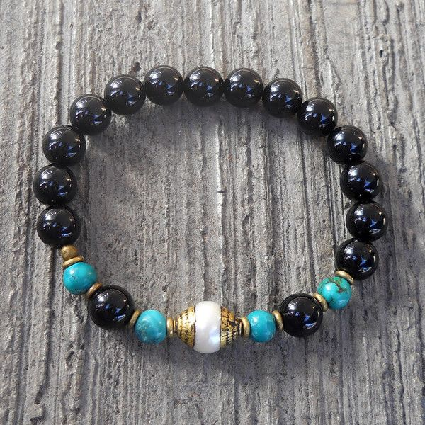 Soothing, turquoise, onyx and Tibetan capped pearl mala bracelet by #lovepray #jewelry