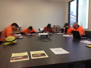 Some new operators doing the test to get their Telehandler Gold Card License