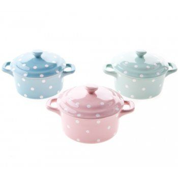 Gisela Graham Spotted Pastel Mini Casserole Dishes