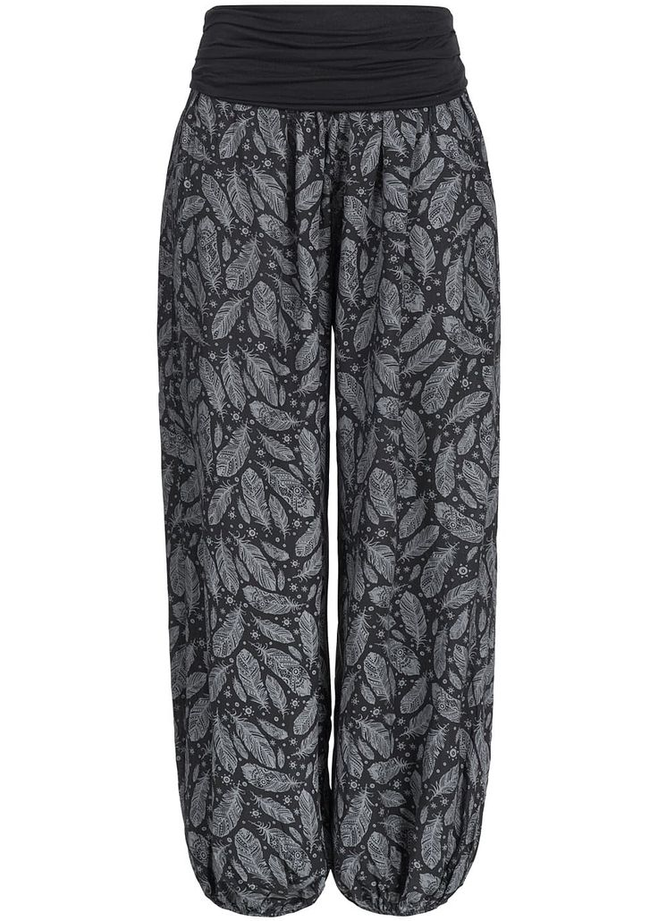 Styleboom Fashion Damen Sommer Hose Harem Style Federn Muster breiter Bund schwarz grau - 77onlineshop