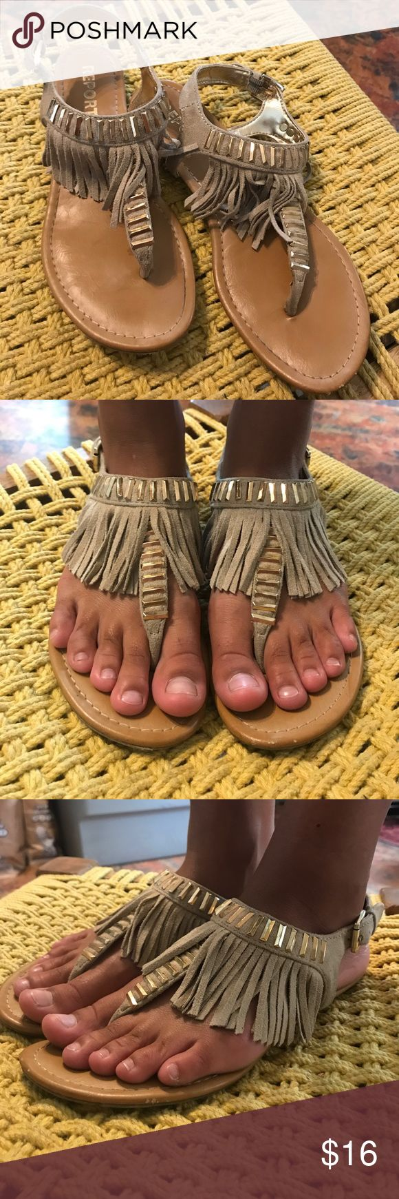 Report Tribal Fringe Sandals w/Gold Accents Size 7 Report Tribal Fringe Sandals w/ Gold Accents Size 7     In great used condition. Report Shoes Sandals
