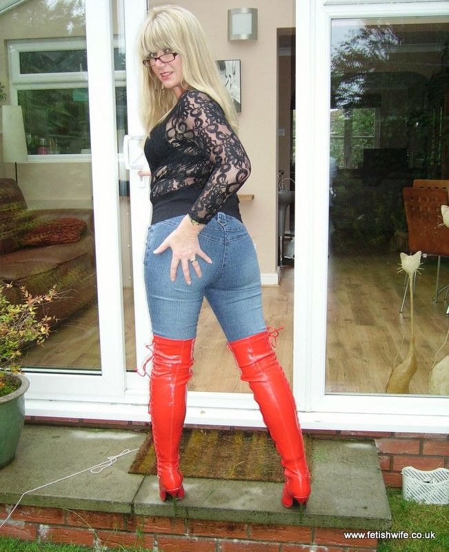 Fetish Wife In Jeans And Thigh High Boots Mature