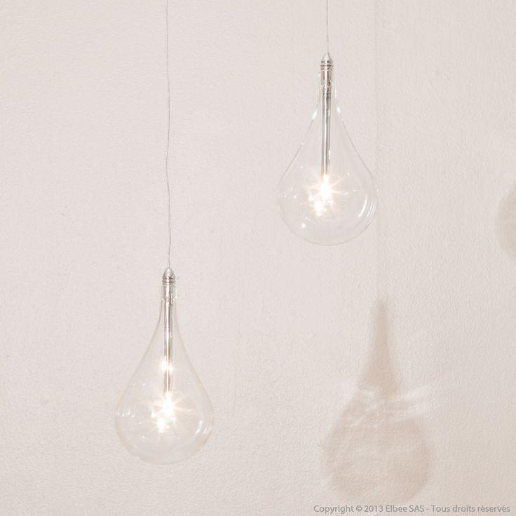 Suspension 1 ampoule en verre borosilicate transparent DROP