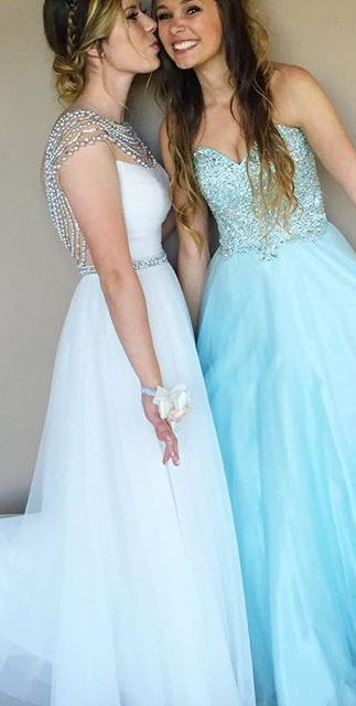 Blue Prom Dresses 2017 Sweetheart Crystal A-line Tulle
