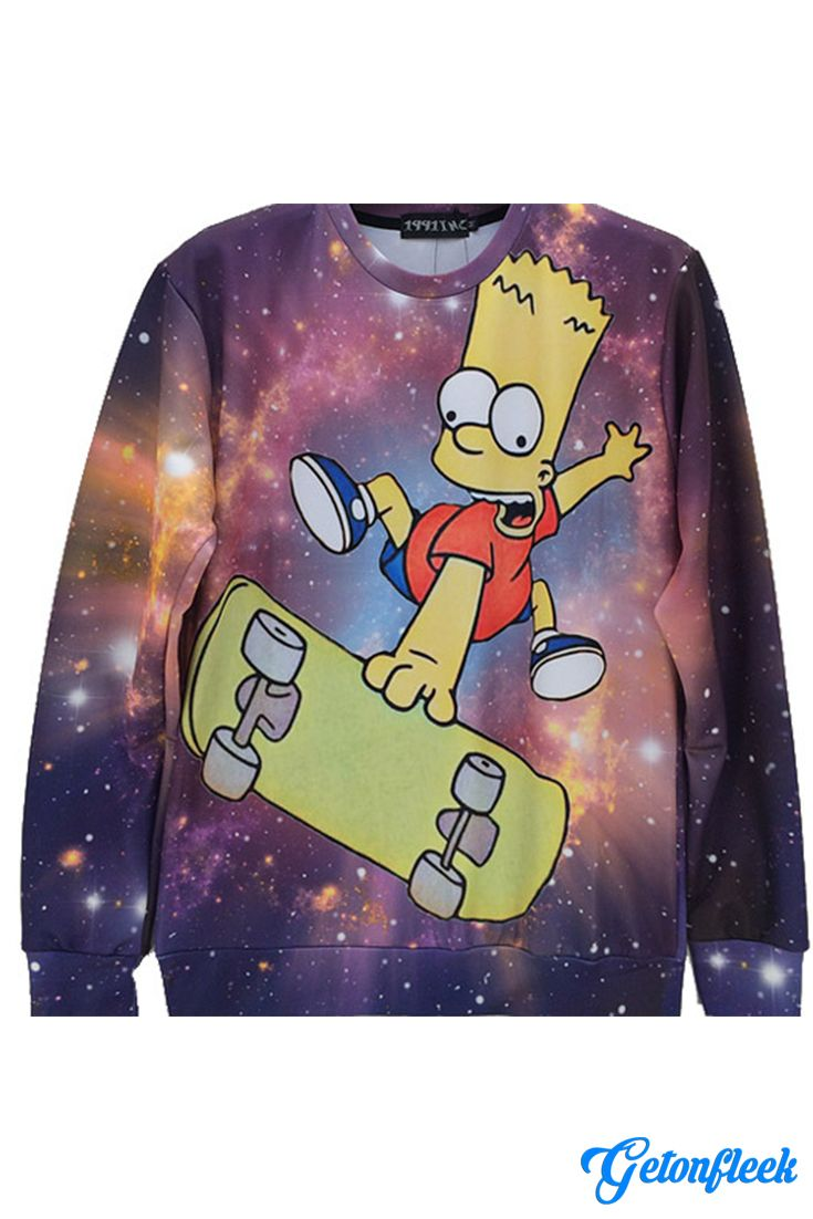Bart Galaxy Crewneck - Shop our entire collection of all-over-print apparel! www.getonfleek.com