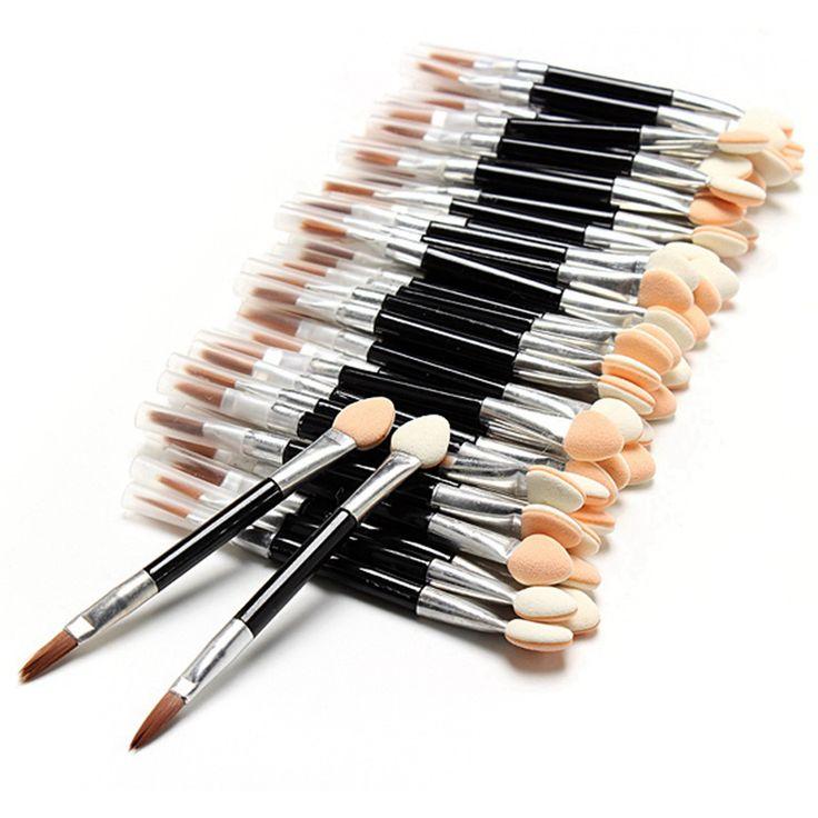 New 10 Pcs Applicator Double-Ended Cosmetic Brushes Women Makeup Eyeshadow Eyeliner Sponge Lip Brush Set Disposable