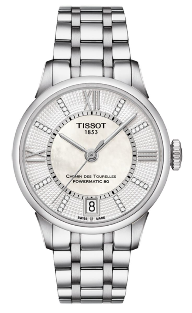 Tissot Ladies Chemin Des Tourelles Powermatic 80 The Tissot Chemin Des Tourelles Powermatic 80 Lady is a luxurious classic timepiece that stands out on the wrist due to the detailing of the watch and the contrast materials giving it charm and sophistication.