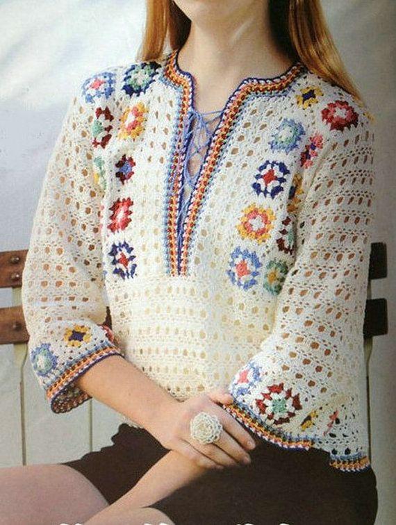 Crochet Shrug / bolero blusa en blanco con flores del ganchillo