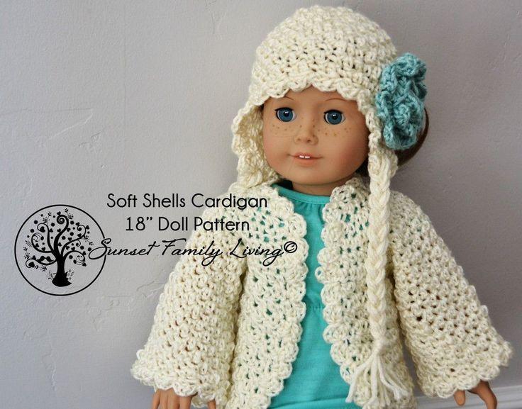 "free 18"" doll pattern -- soft shells cardigan http://www.sunsetfamilyliving.com/soft-shells-cardigan/"
