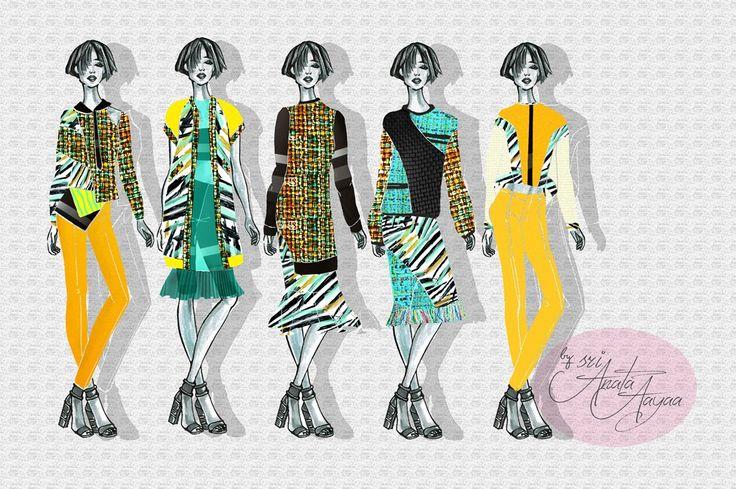 Tweed texture, Fashion Design, Fashion Sketch, Illustration