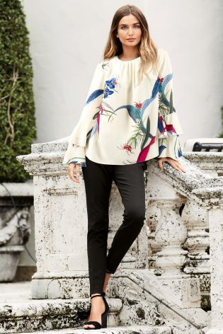 Printed Ruffle Sleeve Top £42 @ Next - High Waisted Cigarette Trousers £40