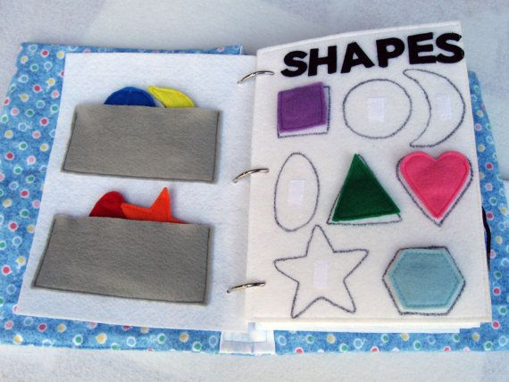 2 felt quiet book pages for toddler, shapes. one page with velcro shapes the other with pockets for storing