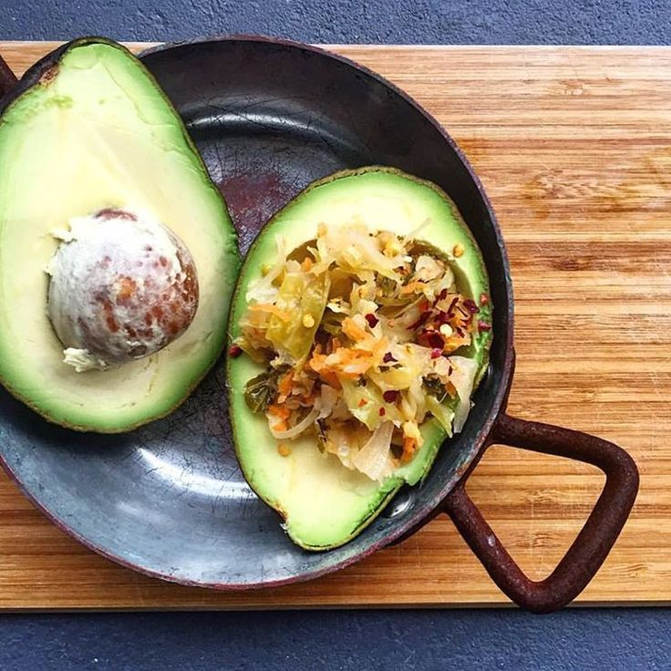 """""""Let's talk perfect pairings! Sometimes all you need is two simple ingredients like this avocado and sauerkraut combo.."""