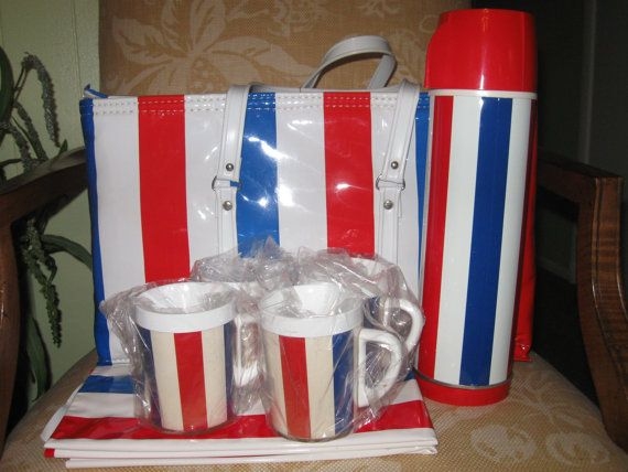 Vintage Red White and Blue Retro Tailgator Thermo by SaraLyn63, $48.75