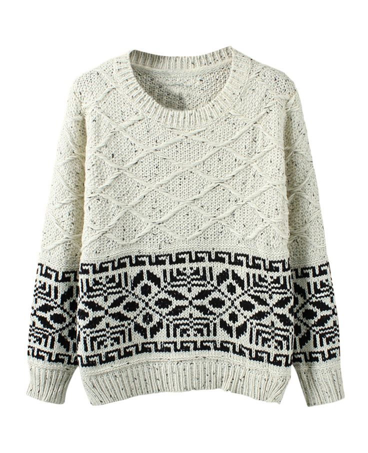 Rhombus-patterned Jacquard Loose Sweater | BlackFive