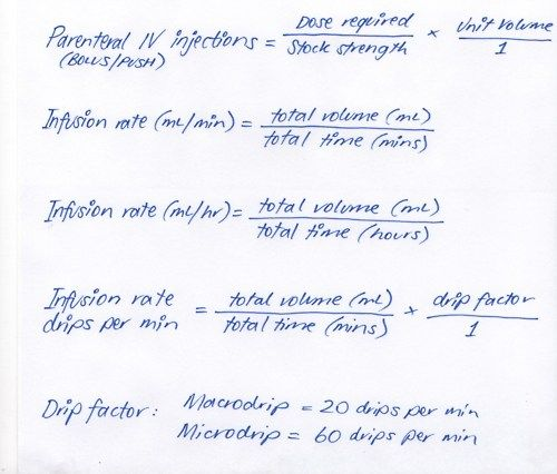 med calculations IV therapy- must remember these for orientation exam!