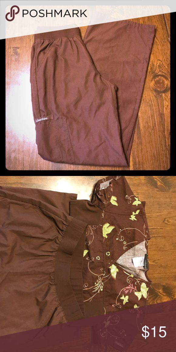NWOT Comfy Cherokee Scrub Pants Brown scrub bottoms by Cherokee. Comfy soft waistband.  Never worn. I worked at a scrubs store for a few months, bought way too many, and never wore most of them.  Matching top available. Bundle the 2 for a special price! Cherokee Pants