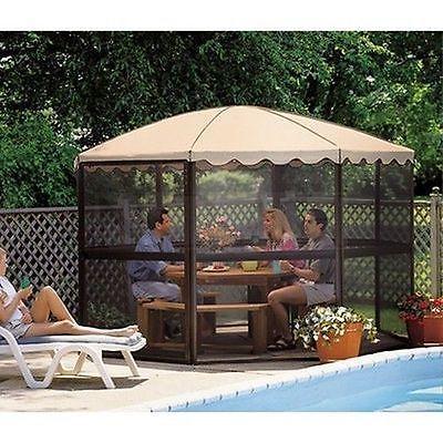 "HugeRound Screen House 12'3"" Screened Patio Deck Outdoor Gazebo w/ Walls, Tent,"