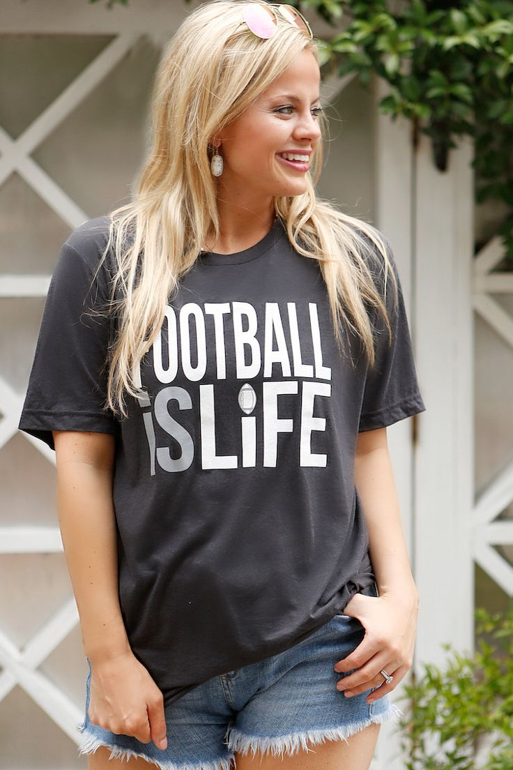 Football is Life - SS Color: Black tri-blend 50/25/25 polyester/combed and ring-spun cotton/rayon Sizing Notes: Small - 2/4 Medium - 6/8 Large - 10/12 XL - 14/16