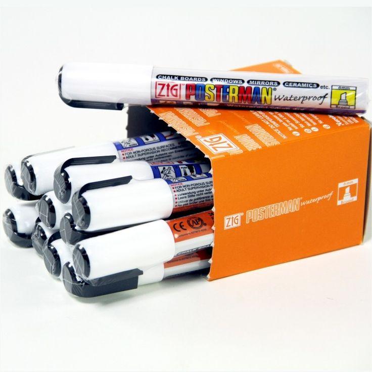 Box of 6 Fluorescent Wet Wipe Pens
