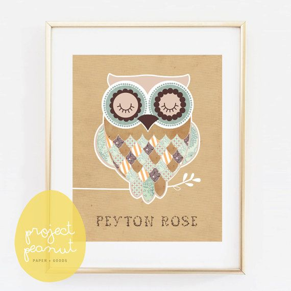 Such an affordable way to decorate your babys nursery with this custom personalised name owl wall art that you can print on canvas or art paper.